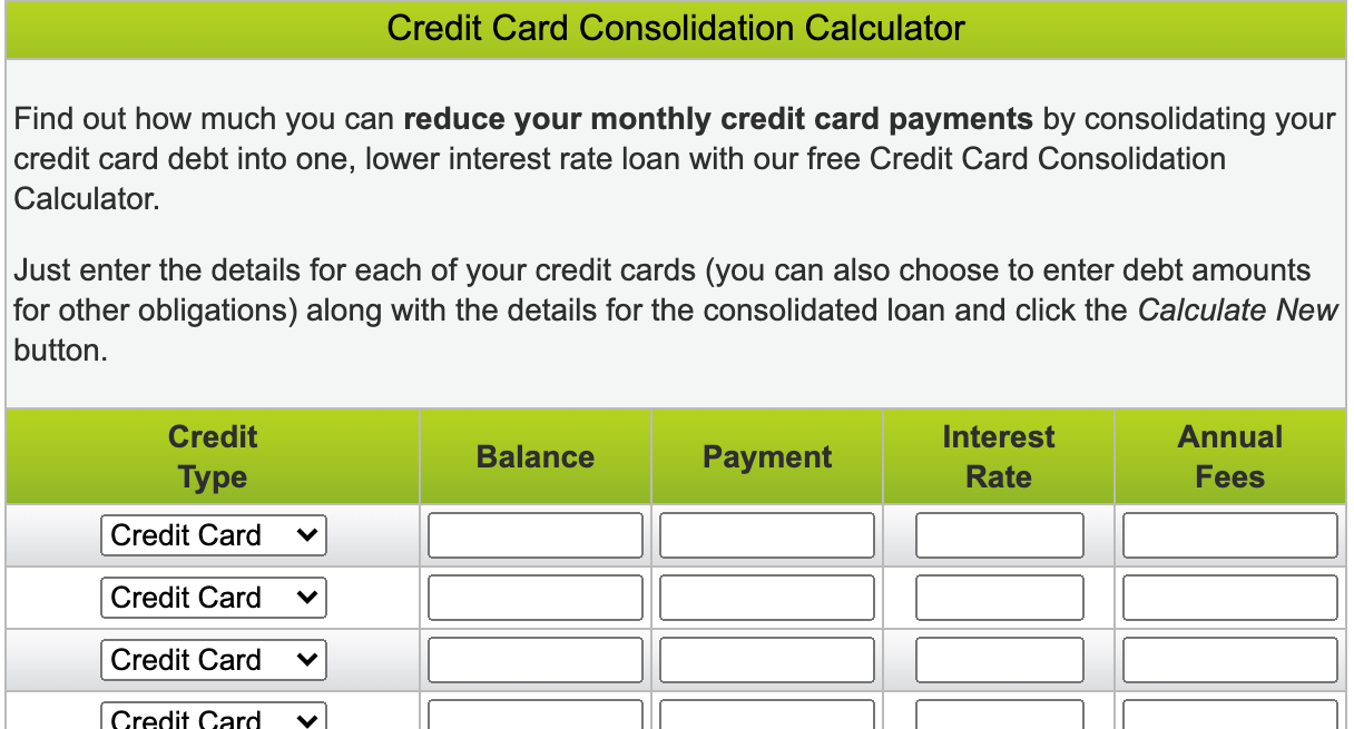 credit card consolidation calculator