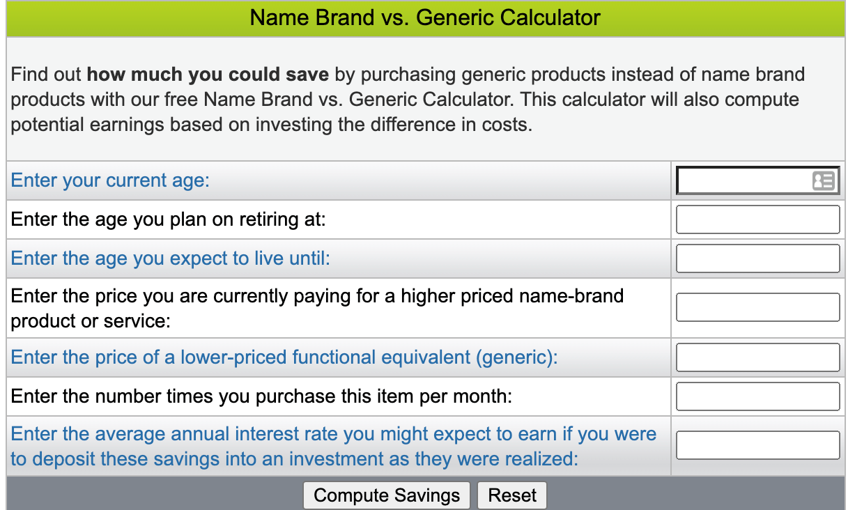 name brand vs generic calculator